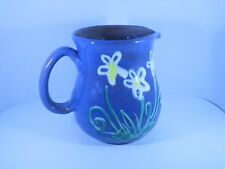 NEW MADE IN BARBADOS EARTHWORKS POTTERY * PITCHER 5 1/2 inches BLUE with FLOWERS