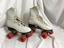 Vintage Roller Derby Skates Womens White Urethane 28 Wheels Size 7