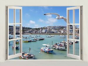 3D Window Effect on Canvas St.Ives Cornwall Uk Seagulls Picture Wall Art Print