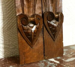 2 Amour love heart carving corbel bracket antique french architectural salvage