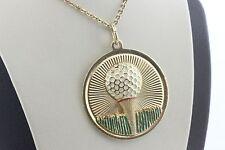 14K Yellow Gold Vintage Dankner Golf Ball & Grass Enamel Charm Pendant