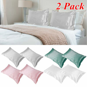 1 Pair Soft Silk Pillowcase Pure Mulberry Satin Pillow Cases Cushion Covers Home