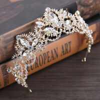 Vintage Baroque Queen Crown Gold Plated Pearls Tiara for Bridal Flower Crowns