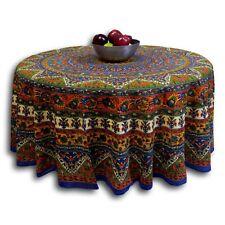 Handmade Mandala Floral Elephant Print Cotton Tablecloth Round 76 inches Blue