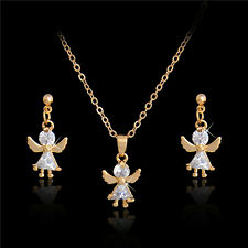 Fine 18k Gold plated CZ Fancy angel Shape Pendant Necklace Earrings Jewelry Set