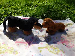 "Lot Aurora Plush Sausage Black Tan Dachshund Dog & Douglas Fuzzy Furry Puppy 9"""