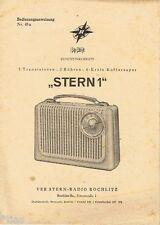 VEB Stern Radio Rochlitz Koffersuper Stern 1 Bedienungsanweisung 1960