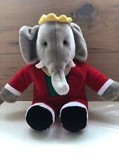 Vintage 1988 Babar Elephant King Stuff Plush GUND Stuffed Animal Red Suit