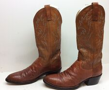 VTG MENS DAN POST COWBOY LIZARD SKIN LEATHER DARK ORANGE BOOTS SIZE 7.5 D