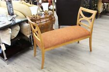 Vintage Fruitwood Upholstered Bench Classic Traditional 1960's