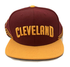 CLEVELAND CAVALIERS Red Yellow Hat Snapback Spell Out Logo Embroidered NEW