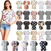 2018 Women Floral Chiffon Blouse Sheer Tops Batwing Short Sleeve Loose T-Shirt