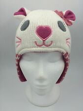 GIRLS CREAM CAT FLYING HAT WITH EARS PINK FLEECE LINING SIZE 44cm 0334