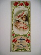 "Vintage Advertising Bookmark for ""A.B. Chase Co."" for Pianos *"