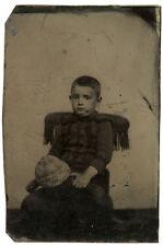 Photo Ferrotype Portrait Jeune Garçon Vers 1870