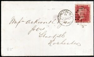 GB QV 1865 COVER SC#A10/33/PLT# 85 DUPLEX BARED-WC6  LONDON TO ROCHESTER