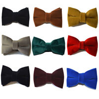 Men High-grade Solid Color Velvet Bow Tie Wedding Adjustable Pre-tied Bowtie New