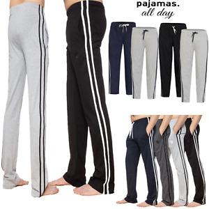 Mens Lounge Pant Nightwear Stripe Trouser Bottoms Stretchy Comfy Pyjama All Size