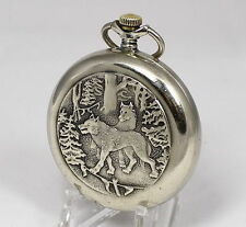 Vintage MOLNIJA MOLNIA Pocket Watch Wolf Wolves 1970's USSR #7