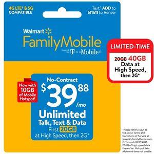 Walmart Family Mobile SIM Kit + $39.88 Unlimited Monthly Plan & Mobile Hotspot