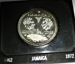 Jamaica Sterling Silver $10 Coin 10th Anniv. of Independence 1972