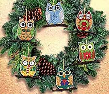 "Janlynn Counted Cross Stitch kit 3"" each Set of 6 ~ OWL ORNAMENTS #021-1453 Sale"