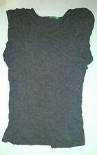 T shirt donna Benetton grigia antracite taglia S maniche giro spalla arricciate
