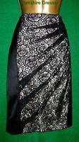 New KAREN MILLEN £120 Black Lace Satin BodyCon TUXEDO Knee-length Skirt - Uk 8