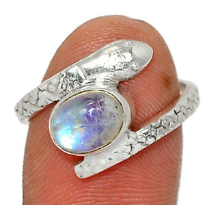 Snake - Rainbow Moonstone, India 925 Sterling Silver Ring Jewelry s.7.5 BR85842