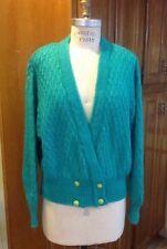Vtg 80s-90s St. Bernard Uk Emerald Green Mohair Cropped Sweater Cardigan Size M