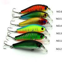 6PCS Minnow Fishing Lure Hard Lure Bait with Hooks 8.5cm/8.9g Set 6#Hook Tackle