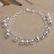 "Women's Unisex 925 Sterling Silver Bell Beads Charm Bracelet 8"" L58"