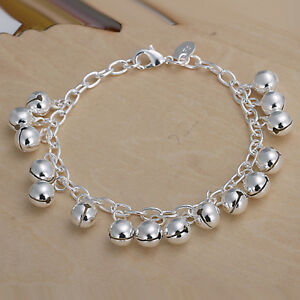 Women 925 Sterling Silver Bell Beads Charm Bracelet 8 Inches 1.8MM Lobster L58