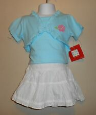 Baby Togs Toddler Girls Eyelet Tiered Skirt White 2T/2 + Top Turquoise 3T/3 NWT