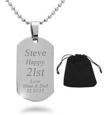 Personalised Engraved ID Dog Tag Necklace Stainless Steel 18th 21st Birthday
