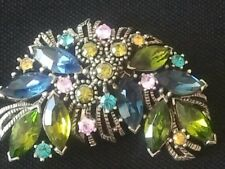 VINTAGE Graziano Signed Brooch Pin Rhinestone Colorful Cluster Silver Tone