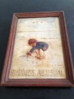 """helen langley """" business as usual """" signed plaster relief plaque"""