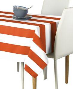 Orange & White Cabana Stripe Signature Tablecloth Assorted Sizes