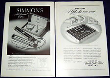 Lot of 2 Vintage SIMMONS Jewelry Advertisements 1944 & 1945 ~ Men's & Women's