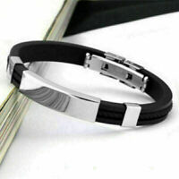 Unisex Men's Braided Silicone Stainless Steel Magnetic AU Bracelet- Clasp K G2D8