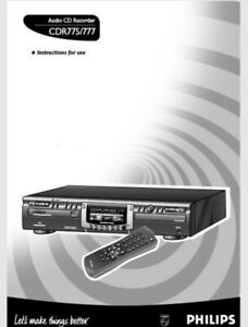 Phillips CDR 775 777 Audio CD Player Recorder Operating Instruction USER MANUAL
