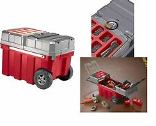 Plastic Portable Rolling Organizer Tool Storage Box With Wheels, Handle And Lock