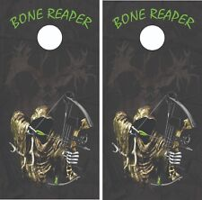 Bone Reaper Bow Hunting Cornhole Board Skin Wrap Decal set -LAMINATED