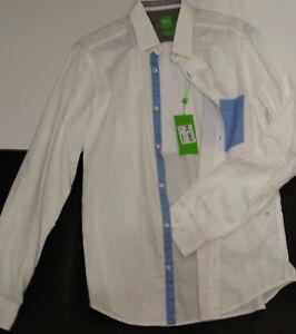 Genuine HUGO BOSS Baloyo Long Sleeve White-Blue Shirt Modern Fit Size M RRP £95