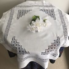 Antique Victorian Drawn Thread Crochet Lace Tablecloth White Linen Vintage