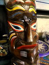Vintage Hawaiian Folk Art Carved Wood  Primitive Mask Totem Statue Polynesian