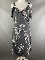 BNWOT Mint Velvet Dress Size UK 18 Dark Grey Floral Wrap Dress Lined Floaty