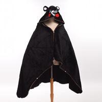 1pc Kumamon Cosplay Black Hooded Blanket Capes Japanese Coral Fleece Soft Cloak