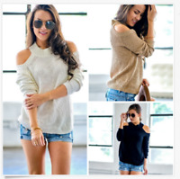 New Long Sleeve Pullover Cold Shoulder Boho Knitted Blouse Top Sweater S M L
