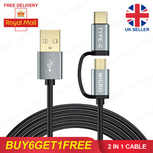 2 in 1 USB C Cable Micro USB Cable Type C Fast Charging Charger Data Lead 1M 2M